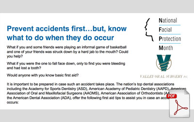 Brochure for National Facial Protection Month