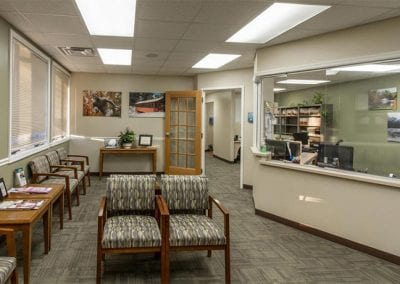 Patient reception area of Valley Oral Surgery's Lehighton office.